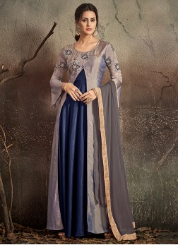 Aristocratic Grey and Navy Blue Party Designer Gown