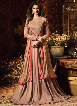 Aristocratic Satin Silk Sangeet Anarkali Suit