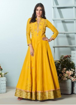 Aristocratic Yellow Embroidered Party Wear Indian Gown