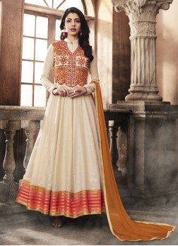 Arresting Off White Embroidered Art Silk Anarkali Salwar Suit