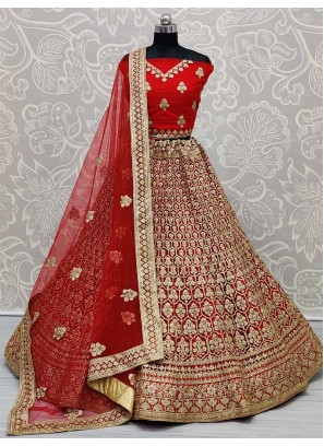 Arresting Red Dori and Zari Embroidery Bridal Net Lehenga Choli