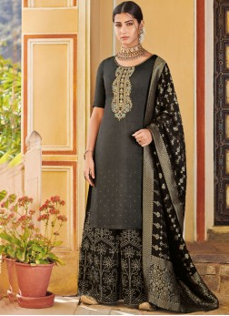 Art Silk Black Designer Pakistani Suit