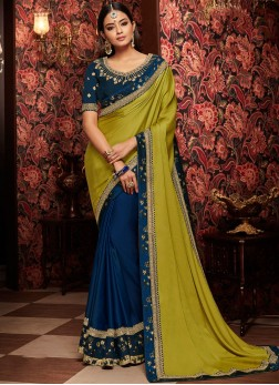 Art Silk Blue and Green Designer Half N Half Saree