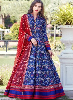 Art Silk Blue Fancy Readymade Suit