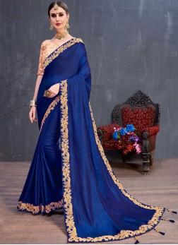 Art Silk Blue Lace Classic Saree