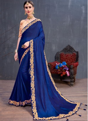 Art Silk Blue Lace Classic Saree