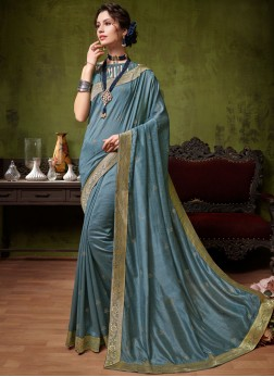 Art Silk Blue Patch Border Traditional Saree