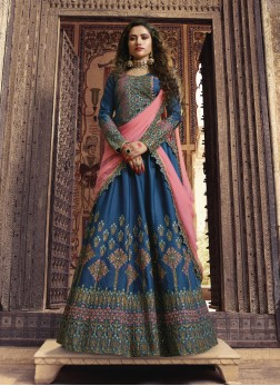 Art Silk Blue Stone Work Designer Lehenga Choli