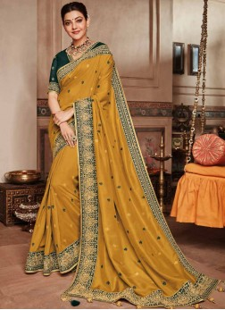 Art Silk Classic Saree in Mustard