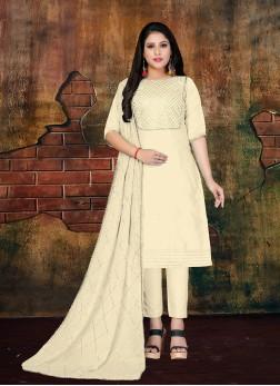Art Silk Cream Lace Designer Salwar Kameez