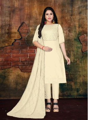 Art Silk Cream Lace Designer Salwar Kameez