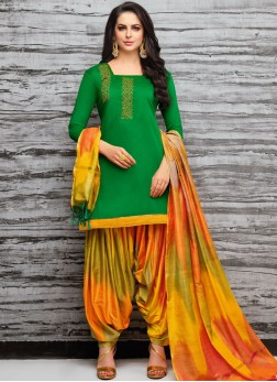Art Silk Designer Patiala Suit in Green