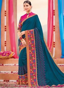 Art Silk Designer Saree in Blue