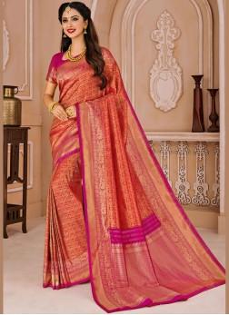 Art Silk Designer Traditional Saree in Red