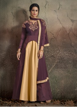 Art Silk Embroidered Beige and Wine Readymade Designer Gown