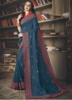 Art Silk Embroidered Blue Classic Saree
