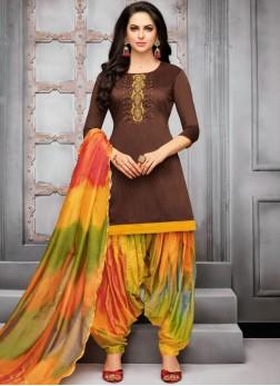 Art Silk Embroidered Brown Designer Patiala Suit