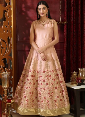 Art Silk Embroidered Designer Gown in Peach