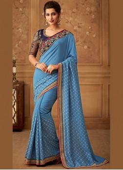 Art Silk Embroidered Designer Saree in Blue