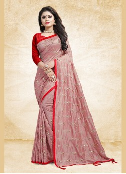 Art Silk Embroidered Designer Traditional Saree in Pink