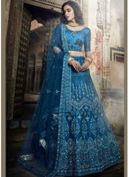 Art Silk Embroidered Lehenga Choli in Blue