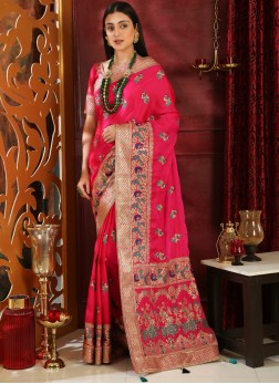 Art Silk Embroidered Magenta Classic Saree