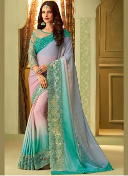 Art Silk Embroidered Multi Colour Designer Saree