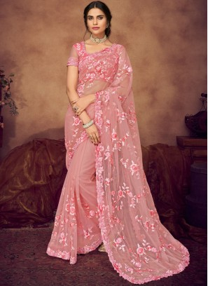 Art Silk Embroidered Pink Designer Saree