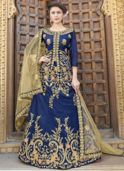 Art Silk Embroidered Trendy Lehenga Choli in Blue