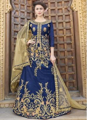 Art Silk Embroidered Trendy Lehenga Choli in Blue