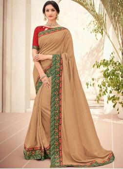 Art Silk Embroidered Trendy Saree in Beige