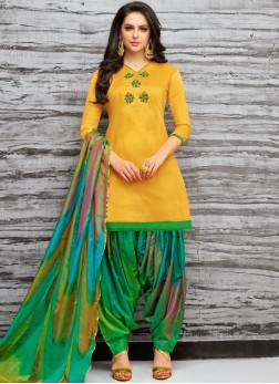 Art Silk Embroidered Yellow Designer Patiala Suit