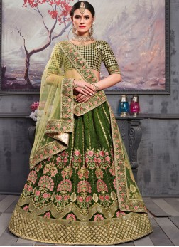 Art Silk green Lehenga Choli