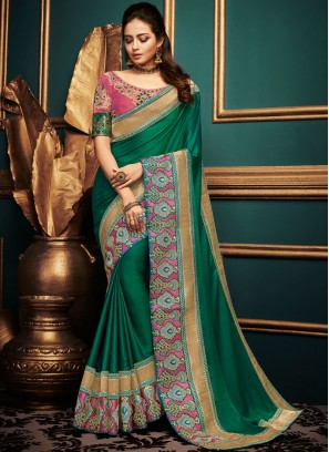 Art Silk Green Traditional Designer Saree
