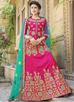 Art Silk Hot Pink Trendy Lehenga Choli