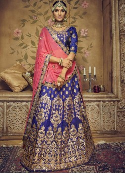 Art Silk Lehenga Choli in Blue
