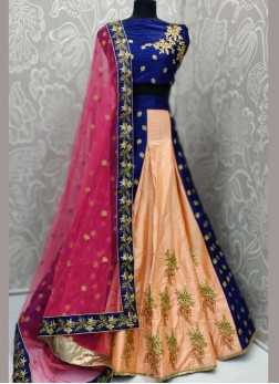 Art Silk Lehenga Choli in Peach and Navy Blue color for Reception