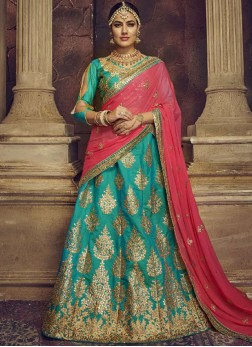 Art Silk Lehenga Choli in Sea Green
