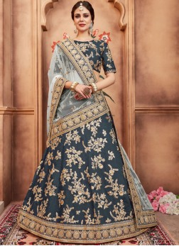 Art Silk Lehenga Choli in Teal