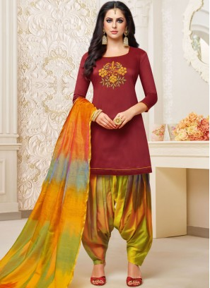 Art Silk Maroon Designer Patiala Suit