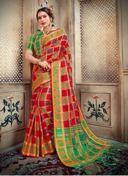 Art Silk Multi Colour Abstract Print Designer Traditional Saree