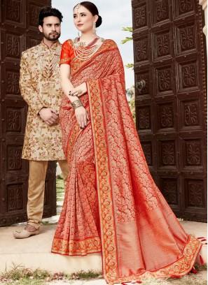 Art Silk Multi Colour Resham Traditional Designer Saree