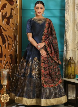 Art Silk Navy Blue Resham Designer Gown