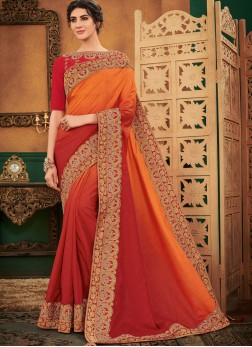 Art Silk Orange and Red Shaded Saree