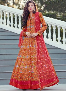 Art Silk Orange Digital Print Readymade Suit