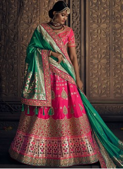 Art Silk Patch Border Lehenga Choli in Pink