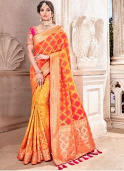 Art Silk Patch Border Orange Traditional Designer Saree