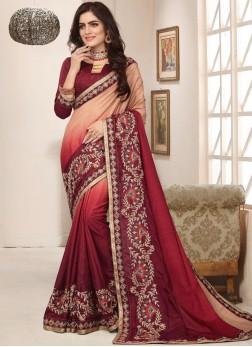 Art Silk Peach Zari Trendy Saree