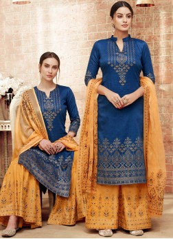 Art Silk Print Blue Designer Pakistani Suit