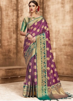 Art Silk Purple Weaving Designer Traditional Saree